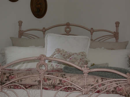 painted iron bed.