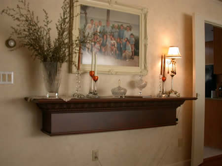 Hanging wall shelf, faux finish.