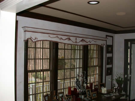 custom valance, panel mouldings, wall finish and crown mouldings by HD&Co.