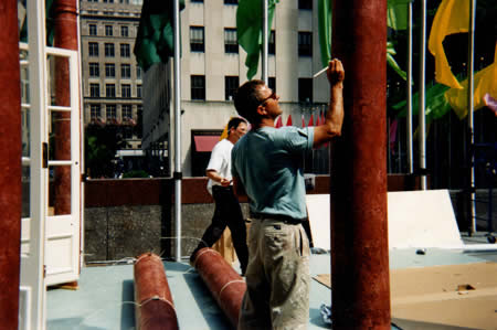 Finishing touches, Rockefeller Center project.