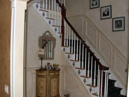 Wall finish, mouldings, stair ornaments.