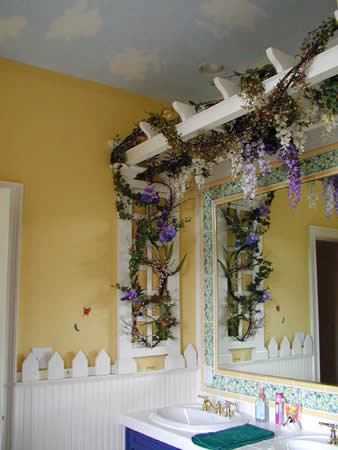 indoor trellis, picket style chair rail, sky ceiling