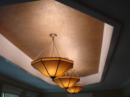 Textured gold recessed ceiling